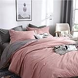 CoutureBridal Sets de Housse de Couette 220x240cm + 2 taie d'oreiller 65x65cm Ado Fille Adulte Rose Gris Réversible Parure de
