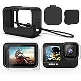 Deyard Kit d'accessoires pour GoPro Hero 9 Black, étui de Protection en Silicone avec Couvercle en Caoutchouc + 6PCS…