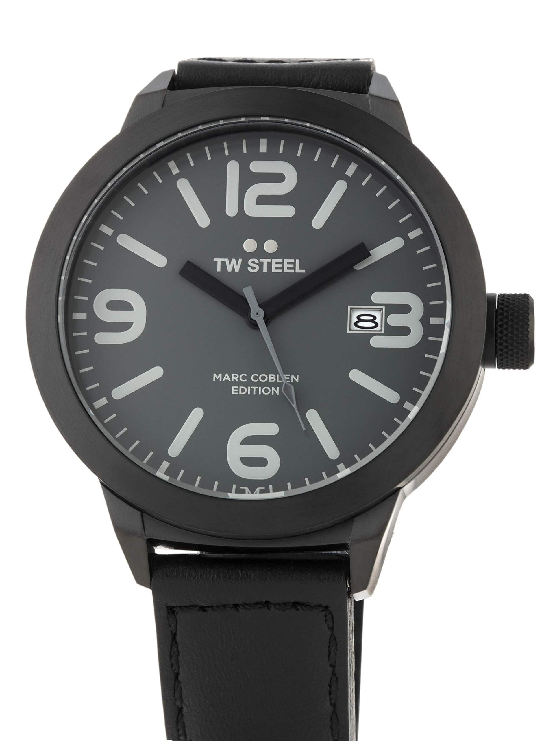 TW-Steel-Marc-Coblen-Edition-mit-Lederband-und-Datum-Edelstahl-Quarz-XXL-50-MM