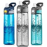 Newdora Borraccia Sportiva Senza BPA 750ml/24oz, Bottiglia Acqua a Prova di perdite con Una Spazzola per la Pulizia…