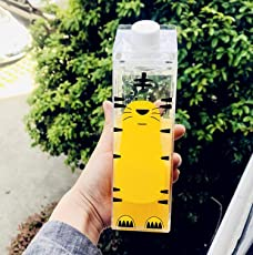 PENVEAT 500 ml süßer Cartoon-Trick-Trinkflasche, BPA-frei, kreativer Flachmann, für Sport und Outdoor, Tiere, Kuh, Katze, Kunststoff