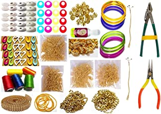 GOELX Silk Thread Jewellery Making Kit, Bangle Size - 2.8 (Pink, Purple, Green, Brown and Yellow, 50P-Jhumka-Kit-19-Items-PPGGBGO-2.8)