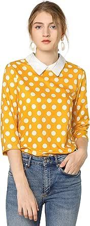 Allegra K Donne Camicia Manica a 3/4 Contrasto Colletto Stampa a Pois Blusa