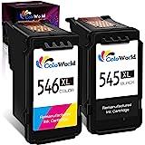 ColoWorld Remanufacturée 545 XL Noir 546 XL Couleur Cartouches d'encre pour Canon PG-545XL CL-546XL Multipack pour Canon Pixm