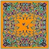 DYEWD Schals Damen Schal, New Silk Schal, Twill Seidentuch, 130cm großes Handtuch, Alabaster Printed Schal Schal, Sonnencreme Strandtuch Schal, Geschenk Schal, Orange 130 * 130cm
