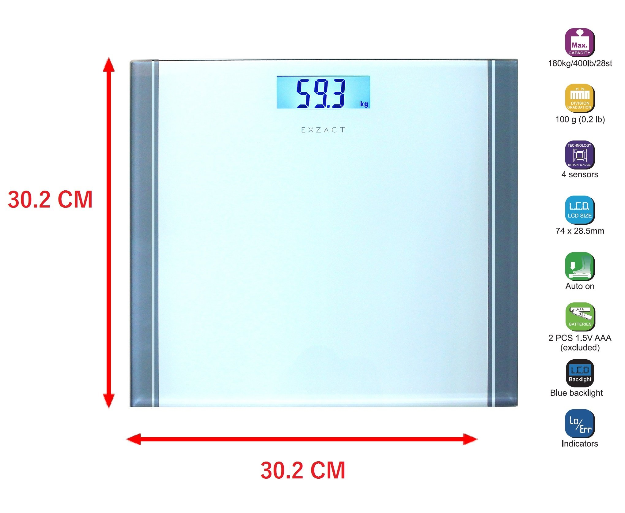 71Dl35b7dNL - Exzact - Báscula Corporal Electrónica/Báscula de Baño Digital/Escala Personal -Capacidad Grande 180kg / 400lb / 28st