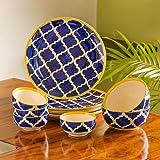 ExclusiveLane Ceramic Plates   Bowls Set   10 Pieces, Blue, White   Yellow