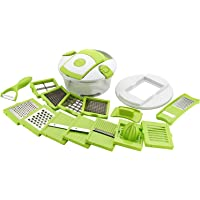 VM PRODUCT Aprito 15 in 1 Vegetable and Fruit Cutter Chopper, Dicer, Grater, Slicer with Airtight Unbreakable Container (Green)