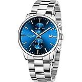 Orologi da uomo in acciaio inox e metallo, stile casual, impermeabile, cronografo al quarzo, data automatica, lancette colora