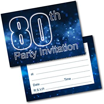 Doodlecards 80th Birthday Party Invitations Male Invites Pack Of 20 Postcards And Envelopes