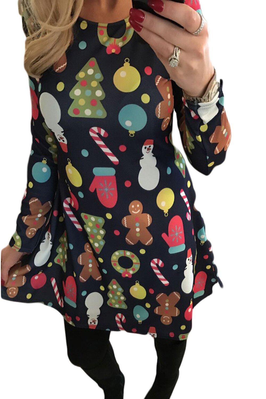 La Mujer Casual El Tema De Navidad Árbol Imprimir Una Linea Acampanado Skater Swing Dress Plus Size