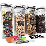 Lot Boite de Rangement - Boite Repas, 8 Étiquettes, Jeu de Cuillères et Marqueur, Boite A Farine – Boite Plastique sans BPA (