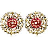 Sukkhi Fabulous Pearl Gold Plated Kundan Meenakari Stud Earring For Women (SKR56860)