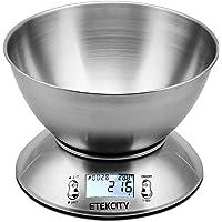 Etekcity Balance de Cuisine Electronique Professionnelle 5 kg/1g en Acier INOX avec Grand Ecran Rétroéclairé, Bol Amovible, Minuterie avec Une Alarme, Fonction Tare, Piles Fournies, Argent
