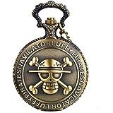JewelryWe Reloj de Bolsillo Bronce Retro, One Piece Pirata Cráneo, Reloj de Bolsillo Cuarzo Cadena de 80 cm, Regalos Dia del