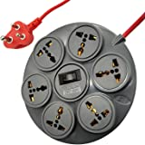 ELV 10 AMP 6-Socket Surge Protector Spike Guard 3 Meter Wire (Gray)