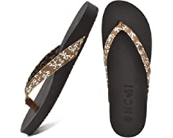 ONCAI Flip Flops Womens Leather Summer Beach Waterproof Pool Sandals Womens with Arch Support Comfortable Footbed Non Slip Ru