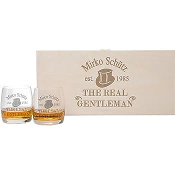 foryou24 2 Whiskeygläser mit Untersetzern + Geschenkbox und Gravur ...