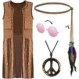 70s Hippie Costume Set,Hippie Fringe Vest,Peace Sign Necklace,Indian/Flower Headband,Hippie Sunglasses (Large, Set2)