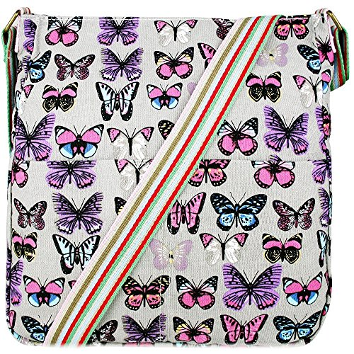 Donna, motivo floreale con farfalla, motivo a pois, in tela (Butterfly Grey)