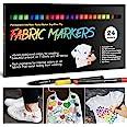 24 Rotuladores para Tela Permanentes-APOGO Marcadores Textiles Indelebles No Tóxicos para Niños Adultos Marcadores de Ropa pa
