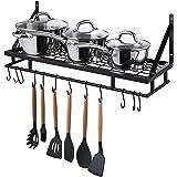 Amazon Brand - Umi Rejilla Para Ollas Organizador de Almacenamiento de Cocina Para Colgar en La Pared Estante de Pared con 12