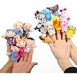 Twister.CK Finger Puppets Set Story Time 16 Pezzi - 10 Animali e 6 Persone Membri della Famiglia Pupazzi Giocattoli…