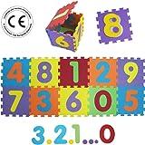 LUDI – Tapis de sol épais et jouet Éducatif – 1053 - puzzle géant aux motifs Chiffres – dès 10 mois – lot de 10 dalles en mousse multicolores et 10 éléments pour apprendre à compter.