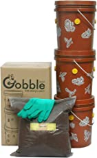 Daily Dump Gobble Junior Indoor Compost Bin kit - for Converting All Kinds of Kitchen Food Waste into Fertilizer