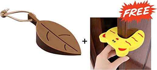 KetKraft Silicone Rubber Door Stopper Wedge Finger Protector Creative Silicone Leaf Shape Home Office Protect Wall from Door knob/Finger Protector Kid Finger Pinch + Free Fingure Guard Gift