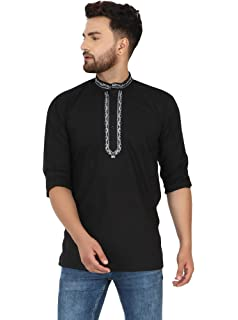 SKAVIJ Mens Indian Tunic Cotton Embroidered Short Kurta Shirt Summer Clothing