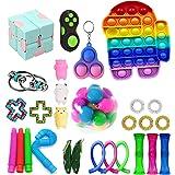Fidget Speelgoedset, Fidget Toys Pack, 26 stuks Fidget Pack, Marmer en Mesh, Sojabonen Squeeze, Lichtgevende Push Pop Bubble