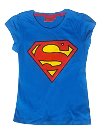 affb5be88 Official Licensed Girls Superman Print Short Sleeve Cotton Tshirt Vest Top  Age 8 to 12 Years  Amazon.co.uk  Clothing