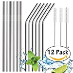 House of Quirk Set of 4 Stainless Steel Straws Ultra Long 10.5 Inch Reusable Drinking Metal Straws for Tumblers Rumblers...