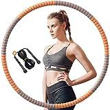 SPSH Hula Hoop Fitness - 8 Segments Amovible, Cerceau Hula Hoop Adulte 1,2 kg pour Exercices de Fitness, avec Corde à Sauter,
