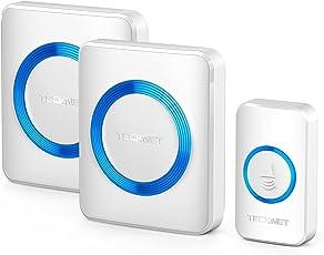 Campanelli Wireless Impermeabile, TeckNet Campanello Senza Fili Portatile Wireless Doorbell, 52 Suonerie, Indicatori LED, 300M Operativo a grande Distanza, 4 Volumi Selezionabili, Italia Spina