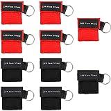 MojiDecor Beatmungsmaske, CPR Maske Schlüsselanhänger 10 Stücke Beatmungstuch mit Rückschlagventil Atmen Barriere - 5 Schwarz