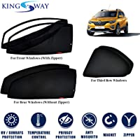 Kingsway car Magnetic Sun Shades/Curtains for Renault triber (Model Year : 2019 Onwards) (Set of 6, with Zipper, Cotton…