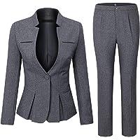 Blazerhose 2-teiliges Set EIN-Knopftaschen Arbeits- und Business-Anz/üge dahuo Damen Hose