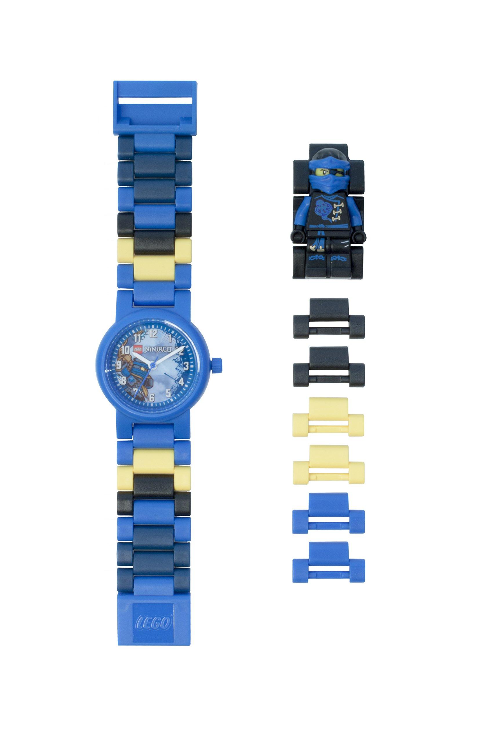 LEGO Ninjago Sky Pirates Jay Kinder-Armbanduhr mit Minifigur und Gliederarmband zum Zusammenbauen | blau/schwarz | Kunststoff | Gehäusedurchmesser 28 mm | analoge Quarzuhr | Junge/ Mädchen | offiziell