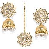 Zaveri Pearls Gold Tone Kundan Earring & Maangtikka Set For Women-ZPFK8404
