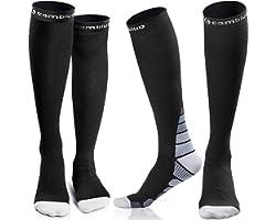 CAMBIVO Compression Socks for Women & Men (2 Pairs), Unisex Socks for Running, Flight, Sports, Travel