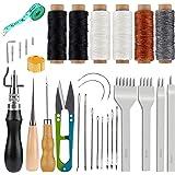 Kit D'artisanat En Cuir, 6 Outils Et Fournitures De Travail En Cuir À Fil De Cire Pcs Avec Poinçon À Broches, Cordes De Cire,