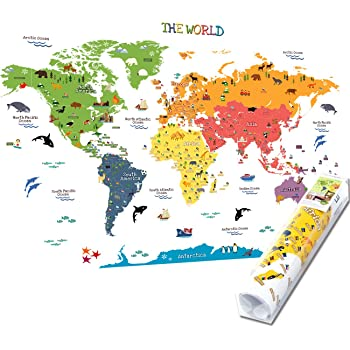 Wallpops Self Adhesive Kids World Map Fine Décor WPE0624