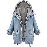 Angelwing Donna Casual Giacca Denim Giacche di Jeans Tasche Reali 2 in 1 Hoodie Cappotto con Cappuccio Invernale…