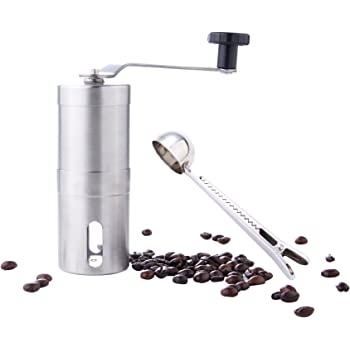 GWCLeo Premium Manual Coffee Grinder Stainless Steel Body Adjustable Ceramic Conical Burr Hand Crank Mill Grinds with Coffee Bean, spoonespresso Compatible,Consistent Grind, Perfect for Traveling