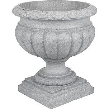 Pflanzpokal Amphore Pflanzgefäß Vase Schale Deko grau rund