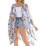 ECOMBOS Kimono largo para mujer con diseño floral, de gasa, para la playa, para verano, blusa, top, traje de playa, cubierta