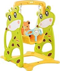 Clamaro 'Crazy Zoo' Garten Schaukel für draußen und Drinnen, Kinder Garten Schaukelsitz mit Gestell, Rückenlehne, Anschnallgurt und Rausfallschutz Bügel (entfernbar)