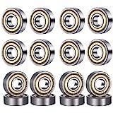 HonLena 608 ZZ Kogellagers, 20 stuks, 8 mm x 22 mm x 7 mm, metaal, double shielded miniatuur groefkogellagers voor skateboard